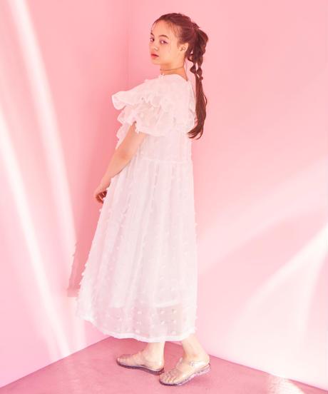 fluffy dot dress WHITE