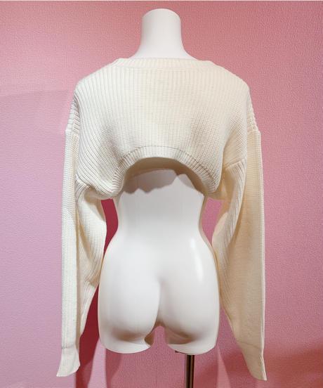 cropped knit & tank set WHITE