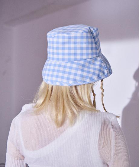 gingham check hat BLUE