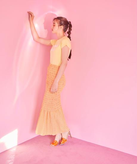shirring skirt  ORANGE