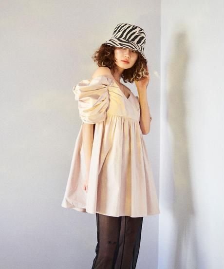 puff sleeve cami dress BEIGE
