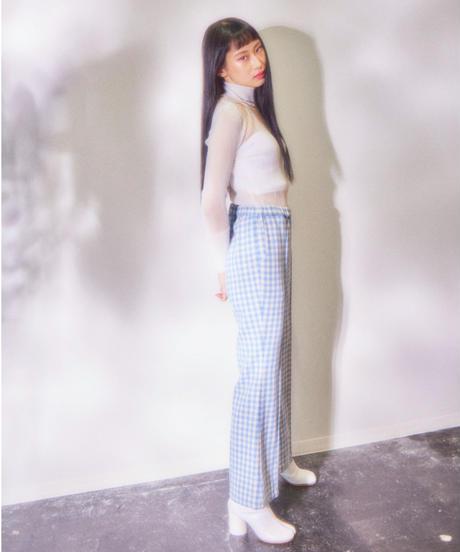 gingham check tweed  flare pants BLUE