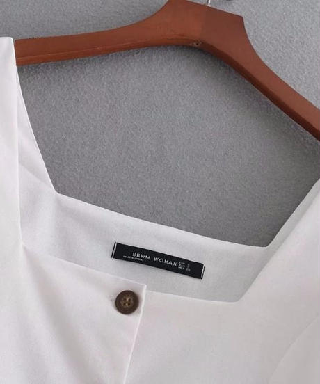TA-014  White Linen Square Collar Blouse