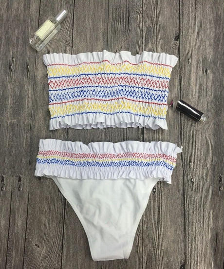 TB-080 White Shirring Stitch Bandeau Bikini