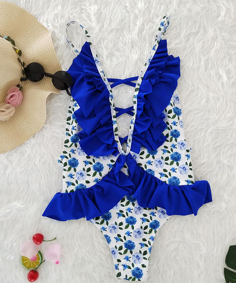TB-063 White×Blue Romantic Flower One Piece