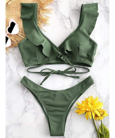 TB-139 Deep Green Ruffle Bikini