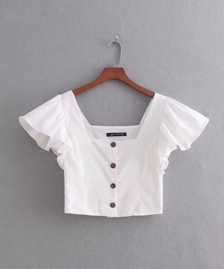【即納】TA-014  White Linen Square Collar Blouse