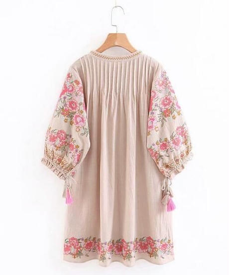 TA-027 Natural Bohemian  Linen One Piece