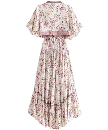 TA-036 White Vintage Chic Floral  Dress