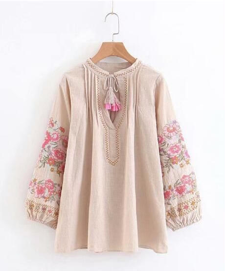 TA-026 Natural Bohemian Linen Blouse