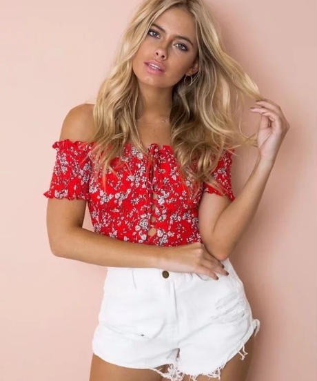 TA-018  Red Cropped Lace Up Off Shoulder