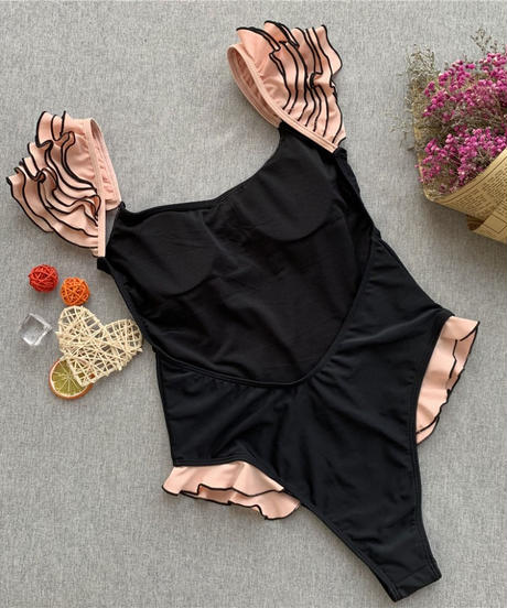 TB-153  Black Shoulder Petit Frill One Piece