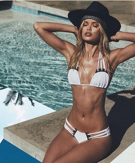 【即納】TB-002 Rib White Cool Marine Bikini