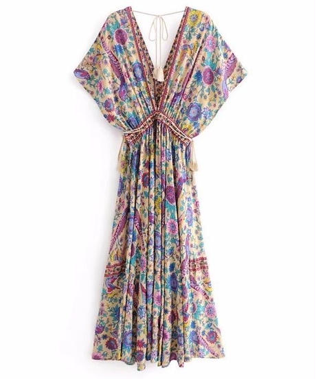TA-031 Boho Off-white Flutter Dress