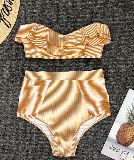 TB-158 Yellow Pinstripe  High Waist Bandeau