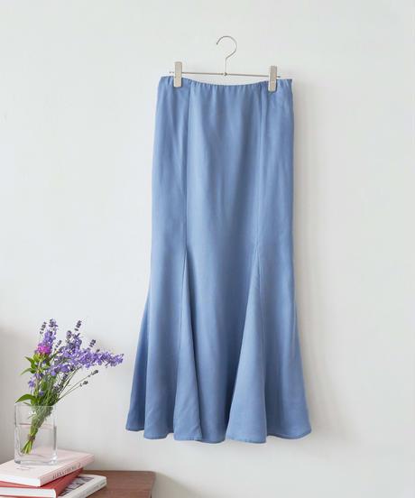 MY038 フレアマキシスカート(サックスブルー)