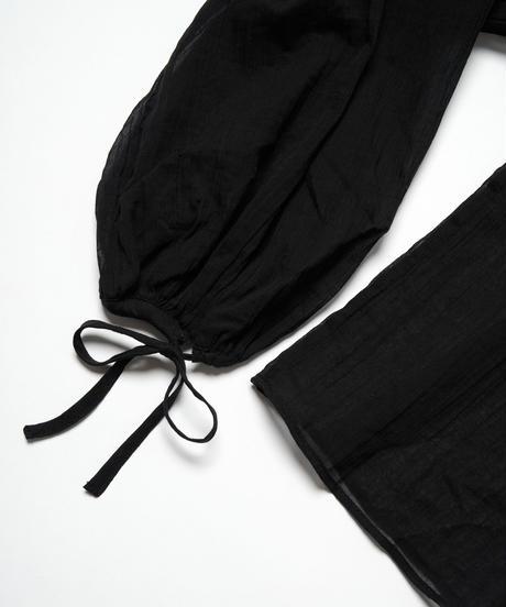 MY034 フリルシャツブラウス(ブラック)