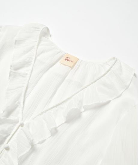 MY034 フリルシャツブラウス(ホワイト)