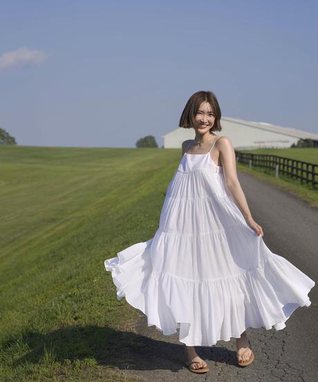 MY036 ティアード マキシワンピース(ホワイト)