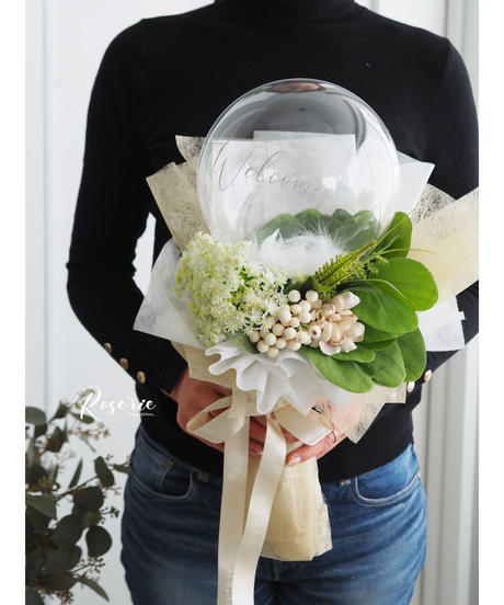 フラワーバルーン:お花お任せW×G【花束Type】