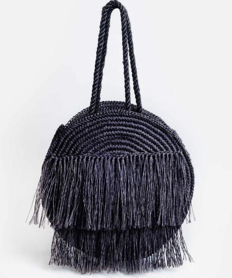 SOME WARE   MAGNOLIA FRINGED CIRCLE BAG