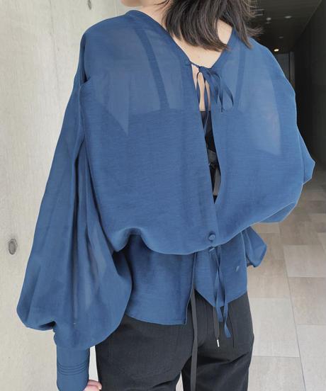 JUN MIKAMI square neck blouse, cotton silk voile
