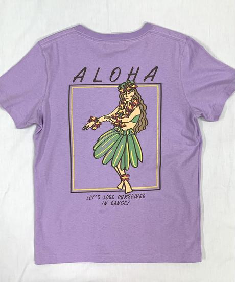 ハワイアン柄Tシャツ パープル/フラガール (レディースサイズ)バックプリント