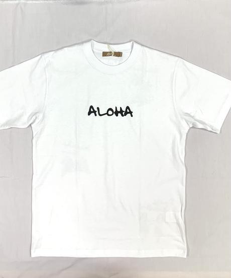 ハワイアン柄Tシャツ ホワイト/フラガール (メンズサイズ)バックプリント