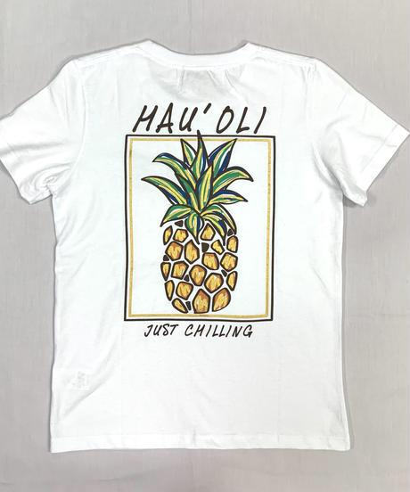 ハワイアン柄Tシャツ ホワイト/パイナップル (レディースサイズ)バックプリント