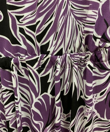 スタンドカラーワンピース ラベンダーブラック ハワイアンファクトリー