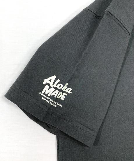 ハワイアン柄Tシャツ チャコール/クジラ (メンズサイズ)バックプリント