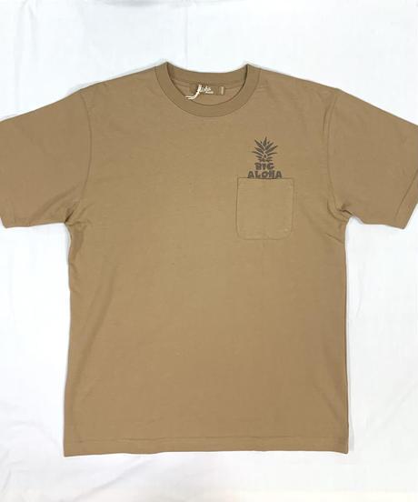 ハワイアン柄Tシャツ ベージュ/パイナップル (メンズサイズ)バックプリント