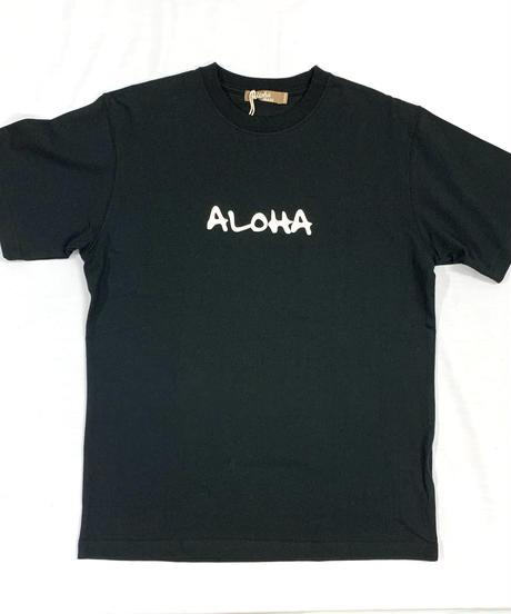 ハワイアン柄Tシャツ ブラック/フラガール (メンズサイズ)バックプリント