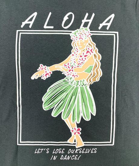 ハワイアン柄Tシャツ チャコール/フラガール (レディースサイズ)バックプリント