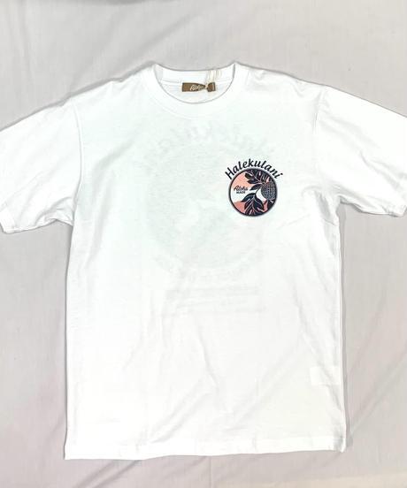 ハワイアン柄Tシャツ ホワイト/パンの実 (メンズサイズ)バックプリント