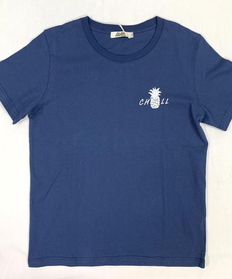ハワイアン柄Tシャツ ネイビー/パイナップル (レディースサイズ)バックプリント