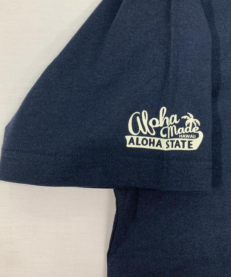 ハワイアン柄Tシャツ ネイビー/ティキ (メンズサイズ)バックプリント