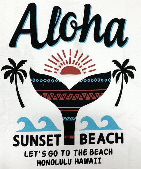 ハワイアン柄Tシャツ ホワイト/サンセットビーチ (メンズサイズ)バックプリント