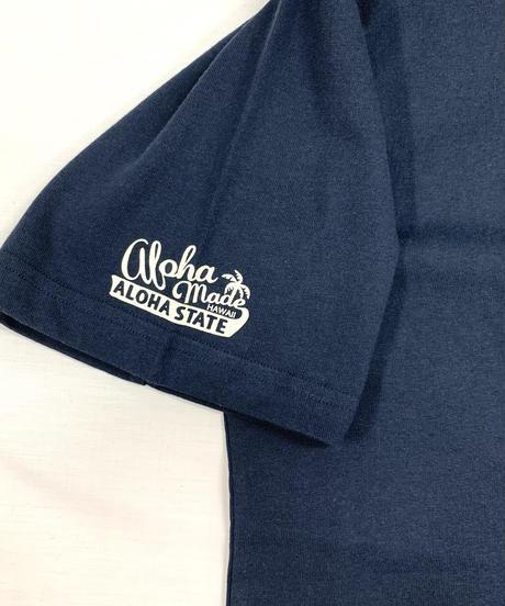 ハワイアン柄Tシャツ ネイビー/パンの実 (メンズサイズ)バックプリント
