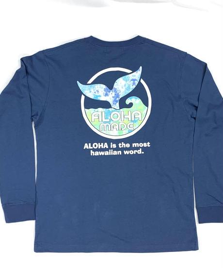 ロングスリーブTシャツ ネイビー (メンズサイズ)バックプリント ハワイアンファクトリー