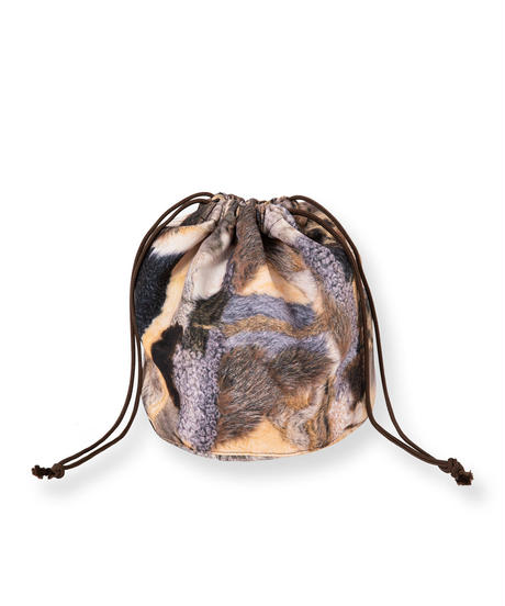 Trompe L'oeil Printed Drawstring Bag(Fur)