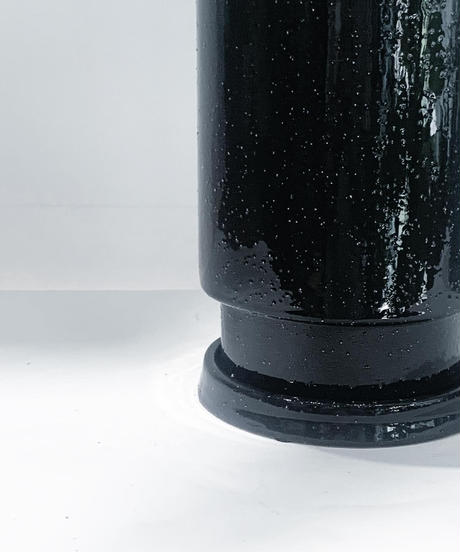 GLAZED TALL POT  black/gray