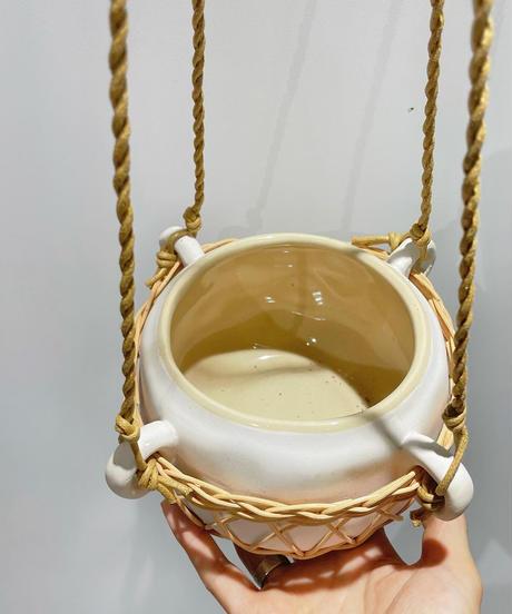 ディスキディア シュガーエメラルディ  / Pottery Hunging  POT  white