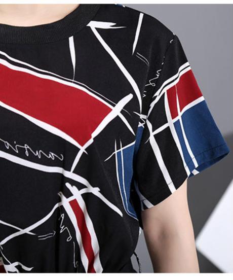 ロングサッシ幾何学模様プリントドレス(DA-090)