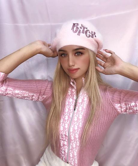 キラキラBITCHニットベレー帽