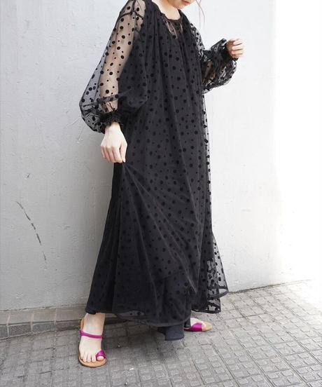 tulle dot one-piece【2203402】