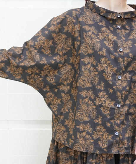 flower print dolman sleeve shirt【2212108】