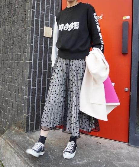tulle pleats dot skirt【2203607】