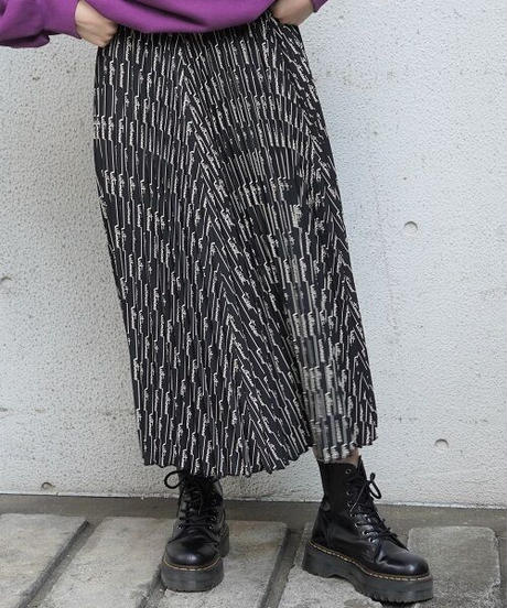 hand writing pleats skirt【2194616】