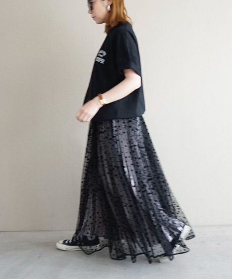 long tulle skirt dots 【2192605】